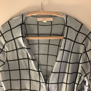 Loft Windowpane Cropped Cardigan